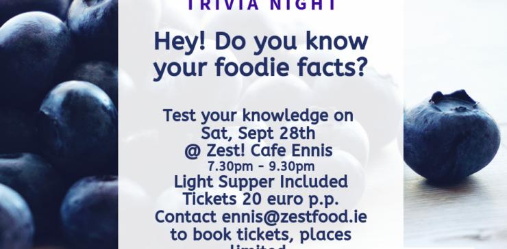 Food & Fun Trivia Night @ Zest! Café